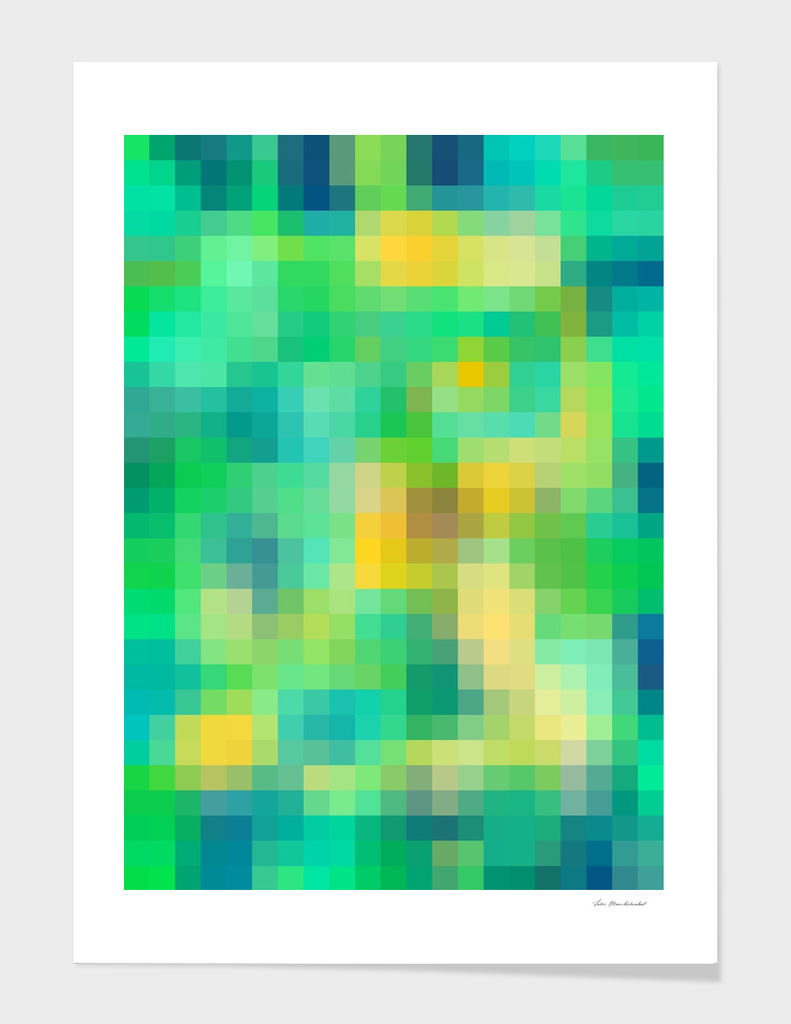 geometric square pixel abstract in green yellow blue
