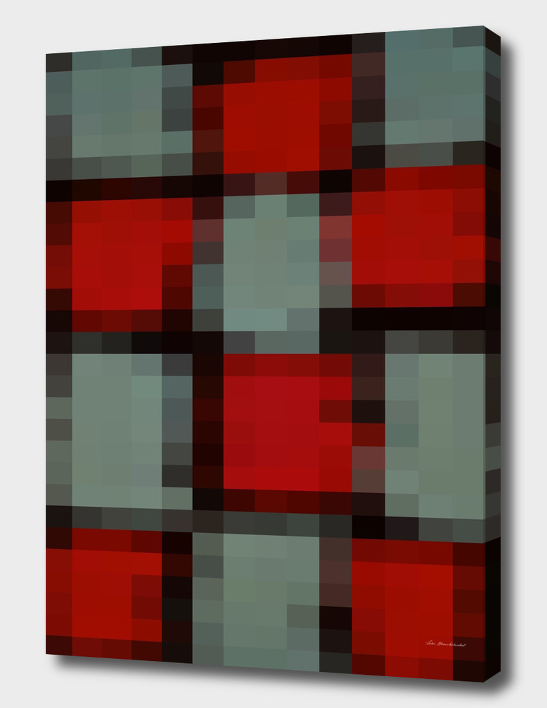 geometric square pattern pixel abstract in red green black