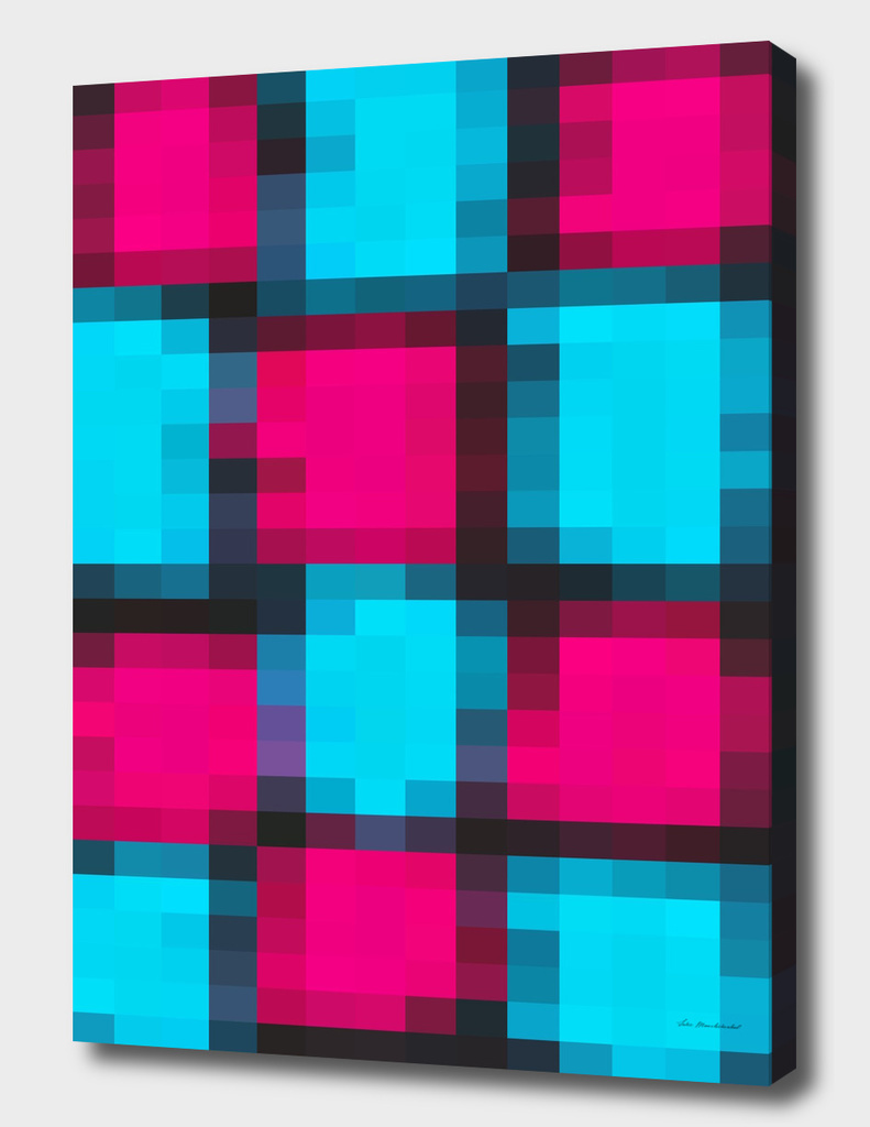 geometric square pattern pixel abstract in pink blue black