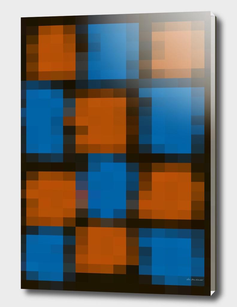 geometric square pattern pixel abstract in orange blue black