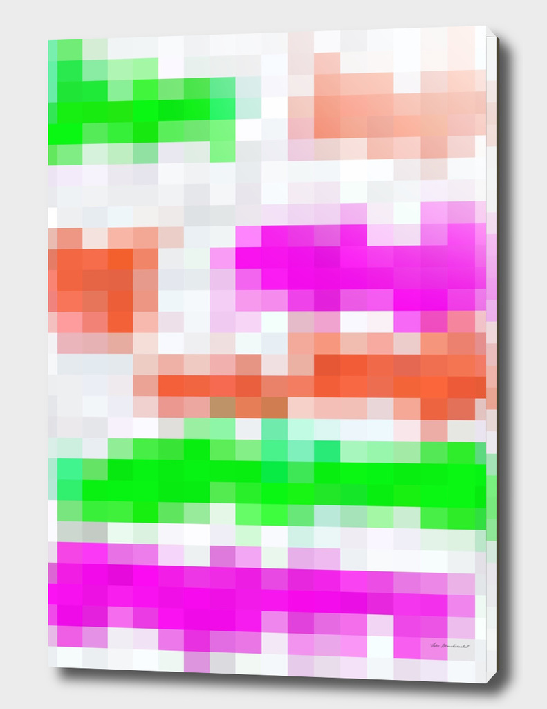 geometric pixel square abstract in orange pink green