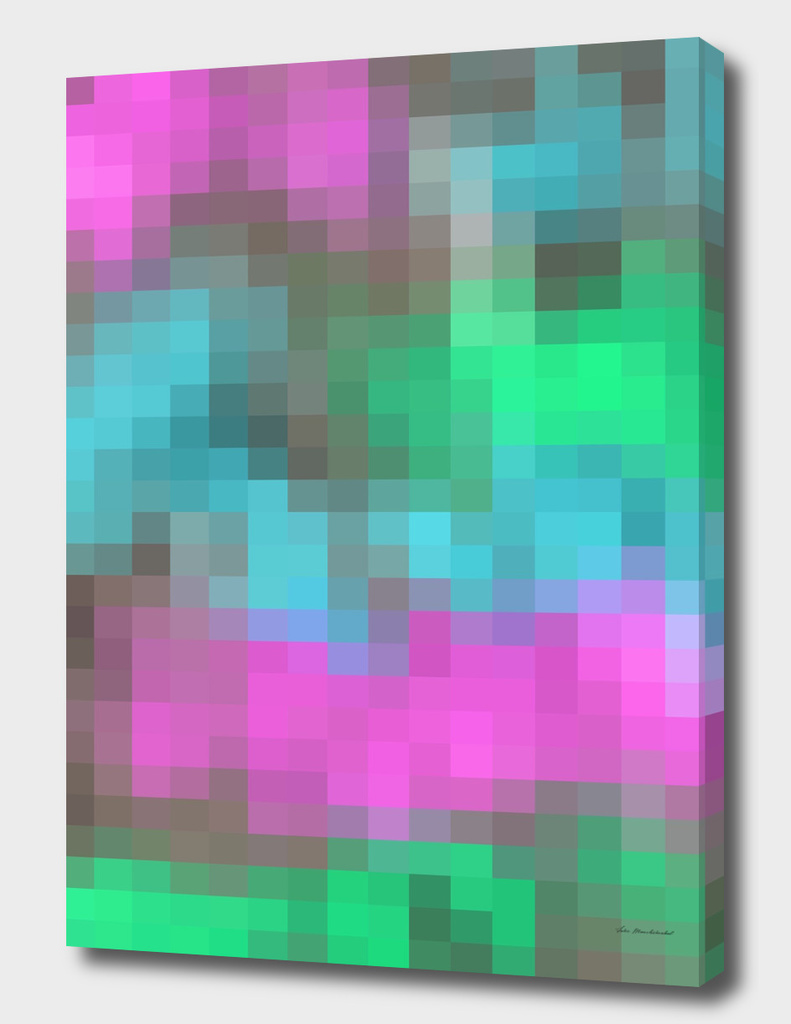 geometric square pattern pixel abstract in pink blue green