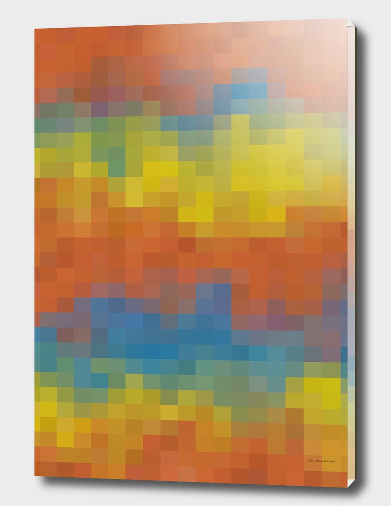 geometric square pixel abstract in orange yellow blue