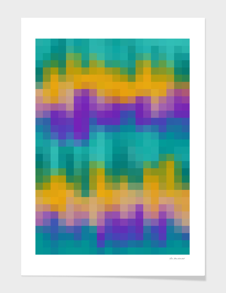 geometric square pixel abstract in green purple yellow