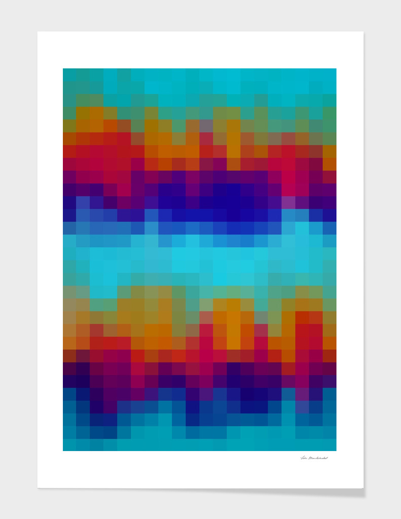 geometric square pixel abstract in blue red brown