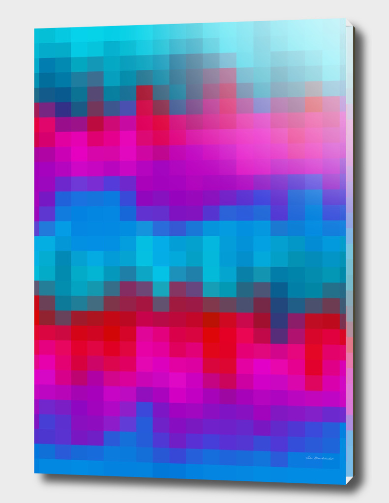 geometric square pixel abstract in blue red purple