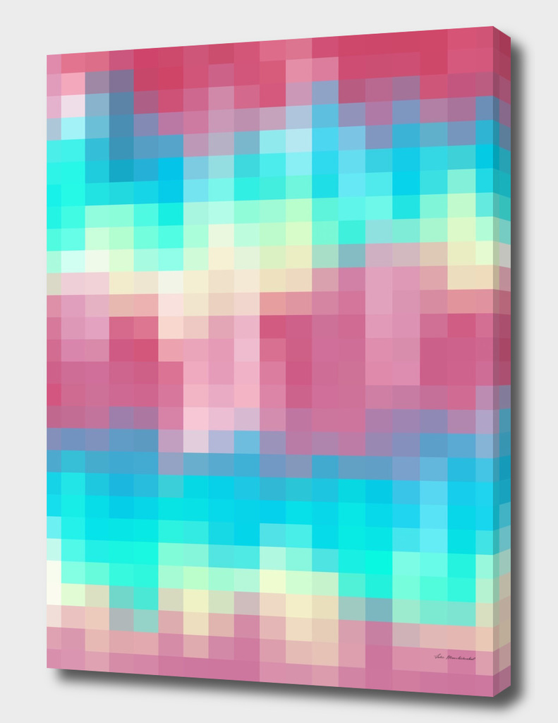geometric pixel square pattern abstract in pink blue yellow