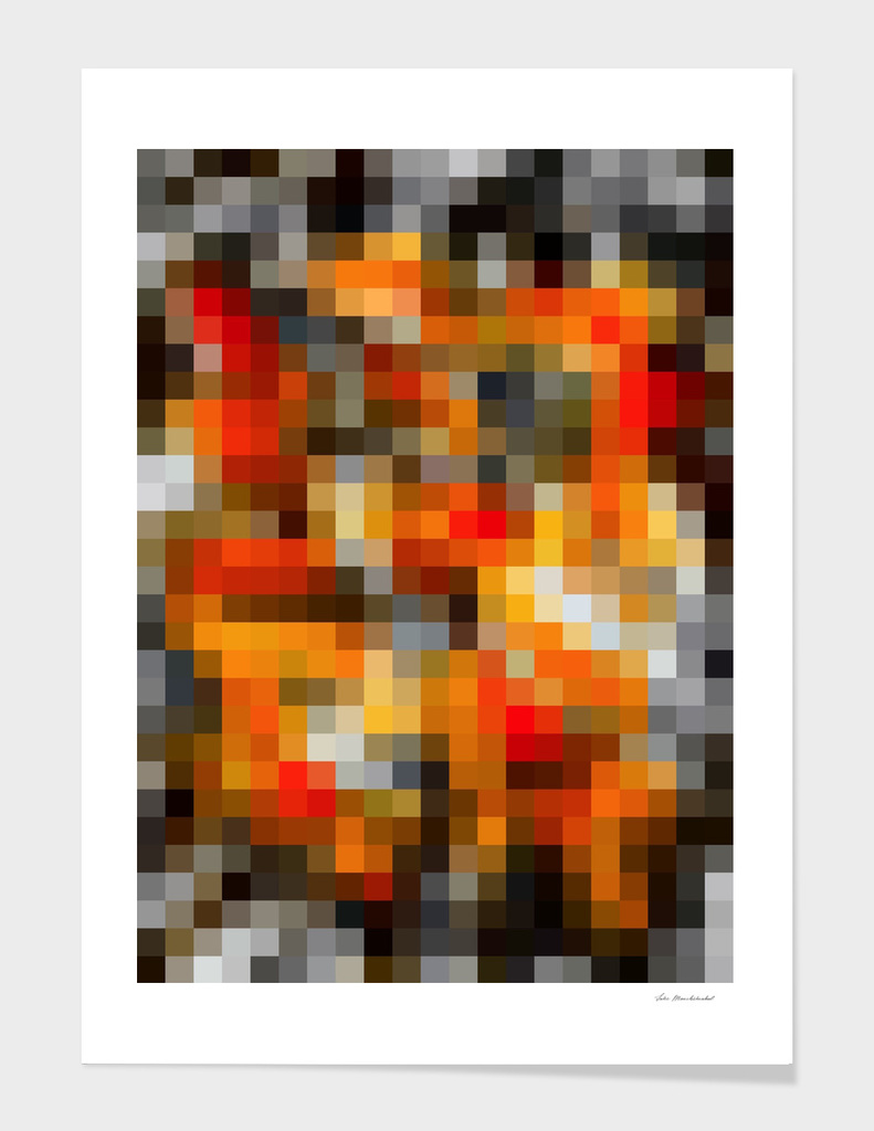 geometric square pixel abstract in orange and black