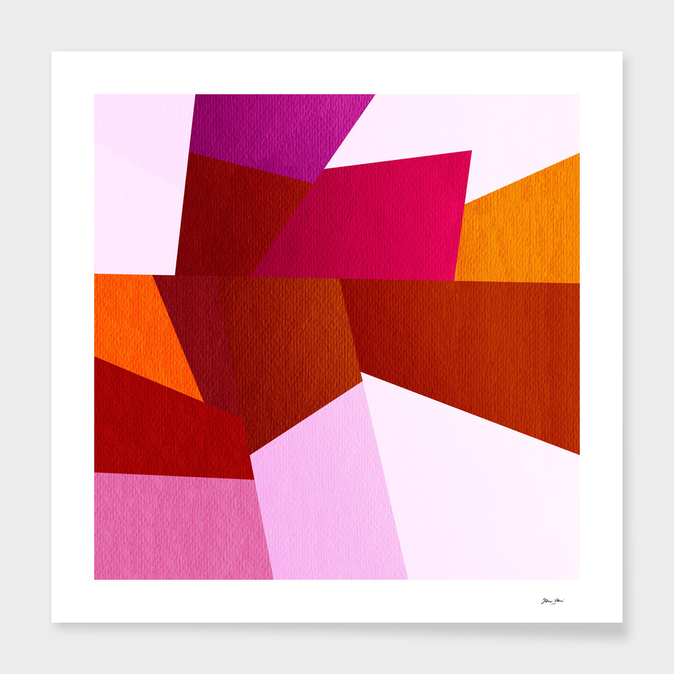 Geometric Rocks - Red & Pink