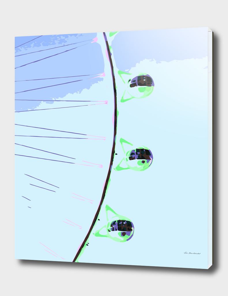 green ferris wheel with blue sky geometric abstract