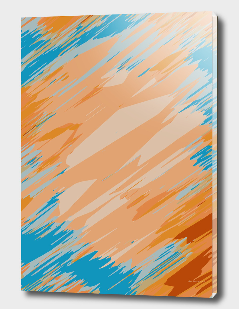 geometric graffiti abstract pattern in orange and blue