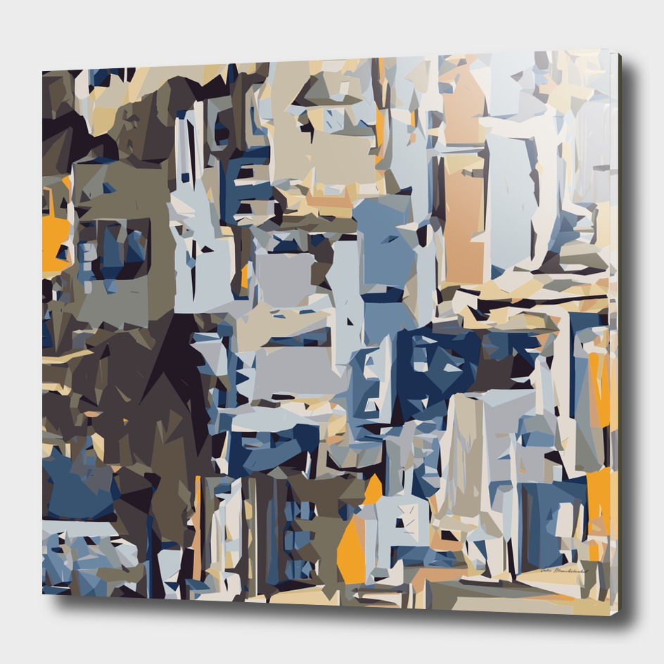 blue yellow and brown buildings abstract background