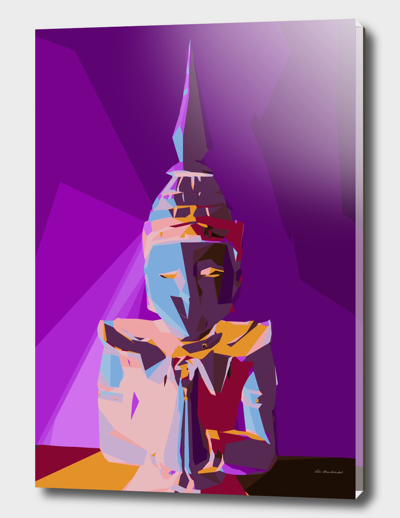 colorful geometric statue with purple background