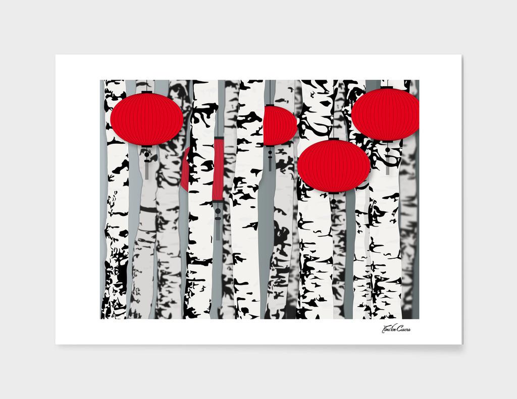 forêt de bouleaux lanternes rouges