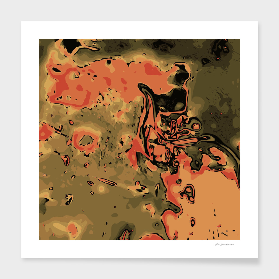 psychedelic rusty graffiti abstract in orange brown green