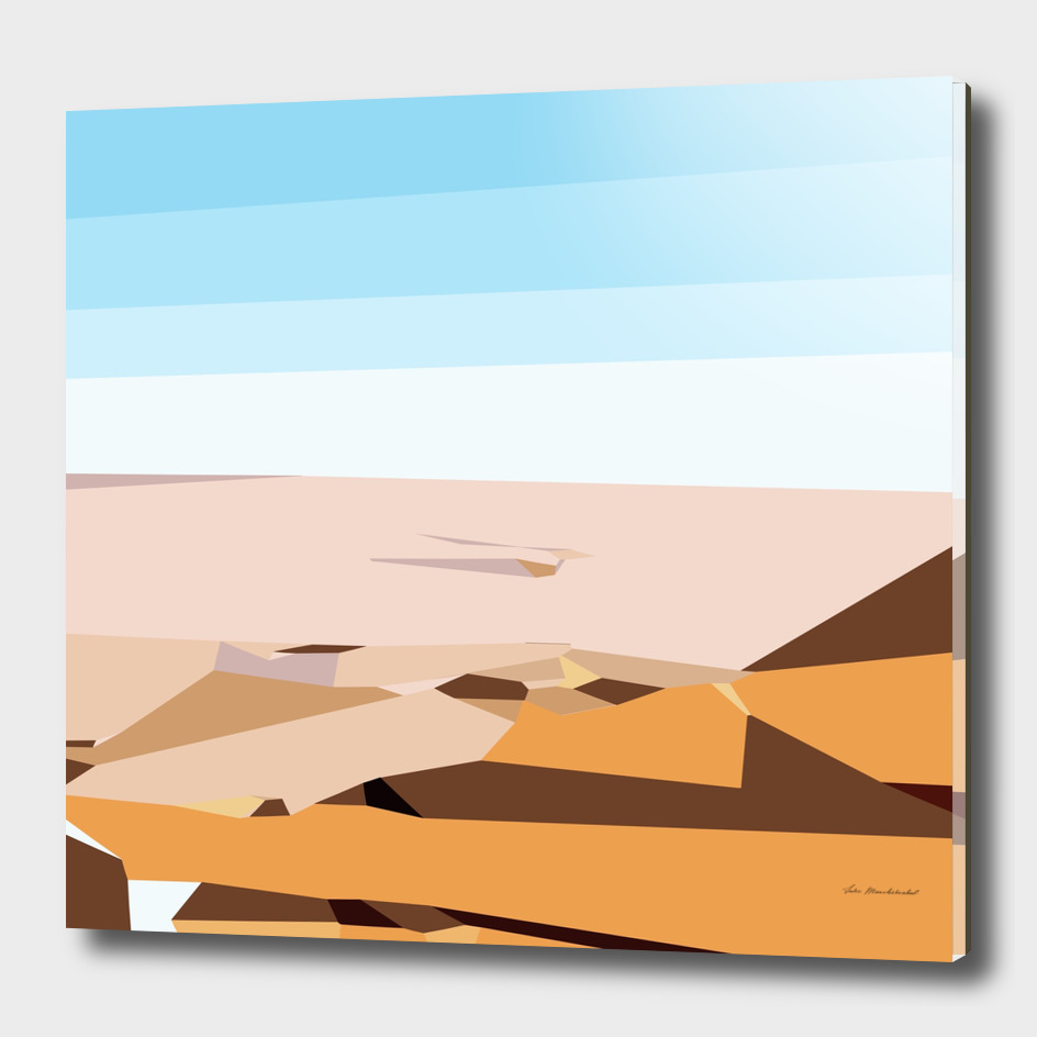 desert and blue sky geometric abstract background
