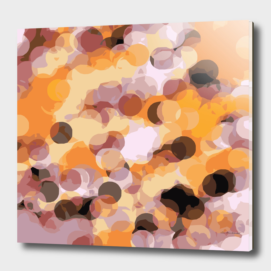 psychedelic circle pattern abstract in orange yellow brown