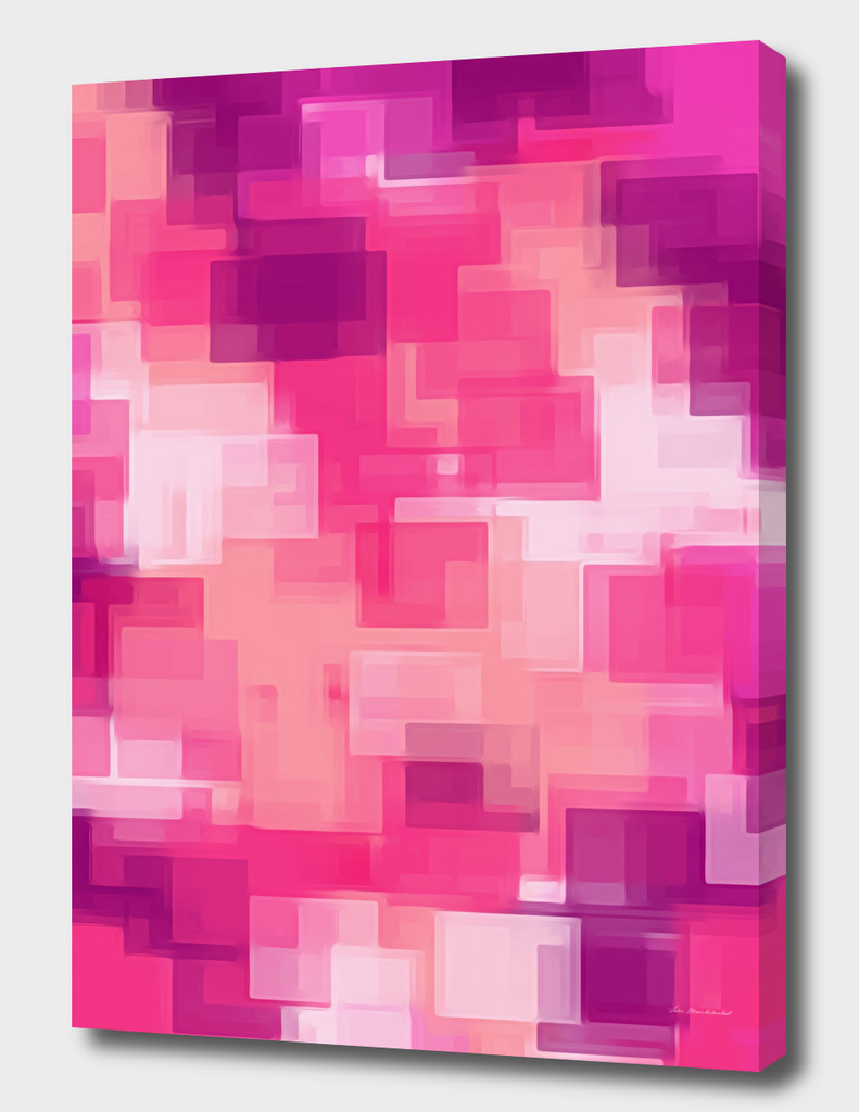 geometric square pixel pattern abstract in pink purple