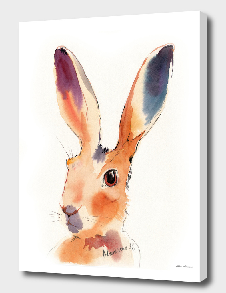 Yellow Hare Watercolor Painting