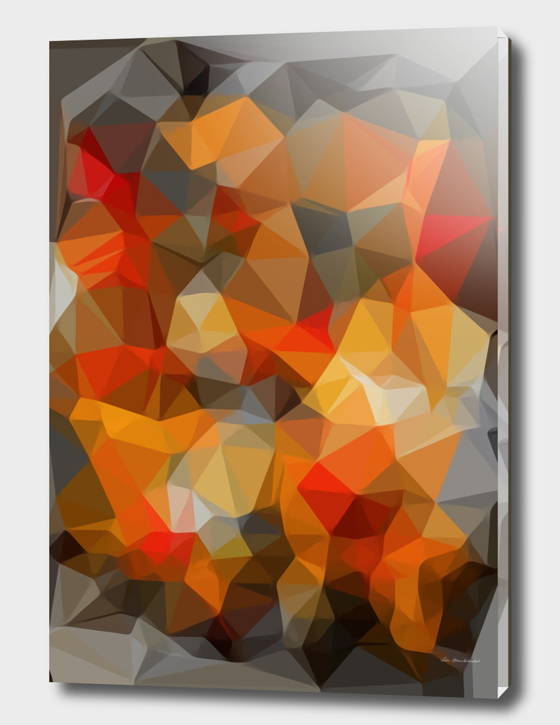 geometric polygon triangle abstract pattern in orange black