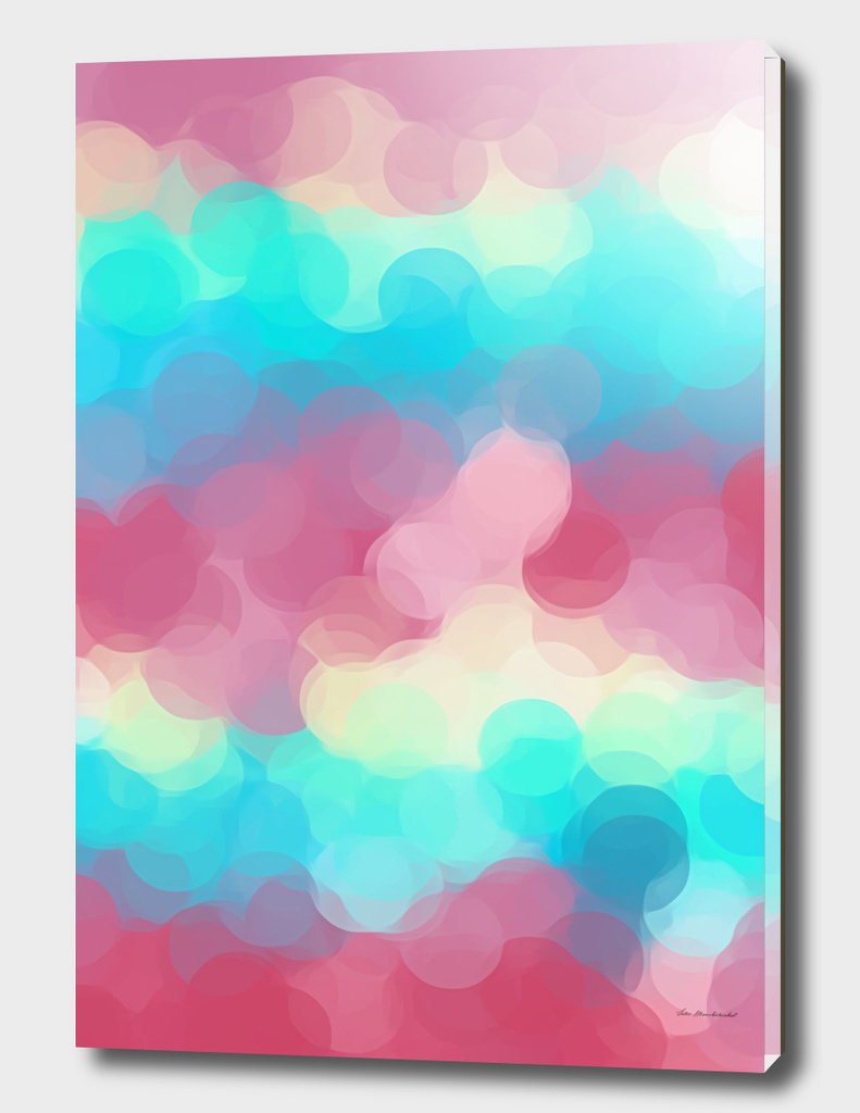 pink yellow blue circle pattern abstract background