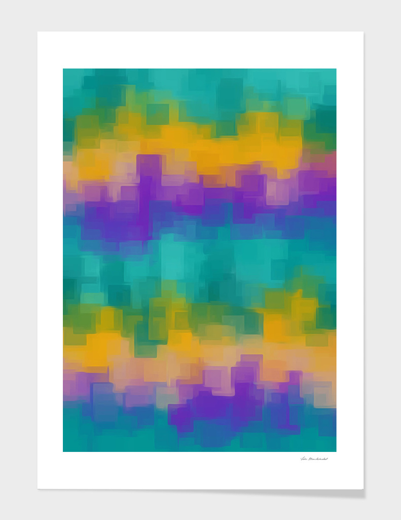 psychedelic geometric square pattern in green purple yellow