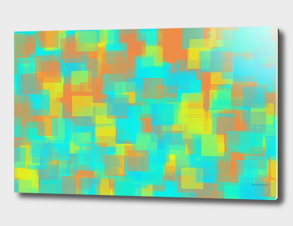 blue orange yellow square pattern abstract background