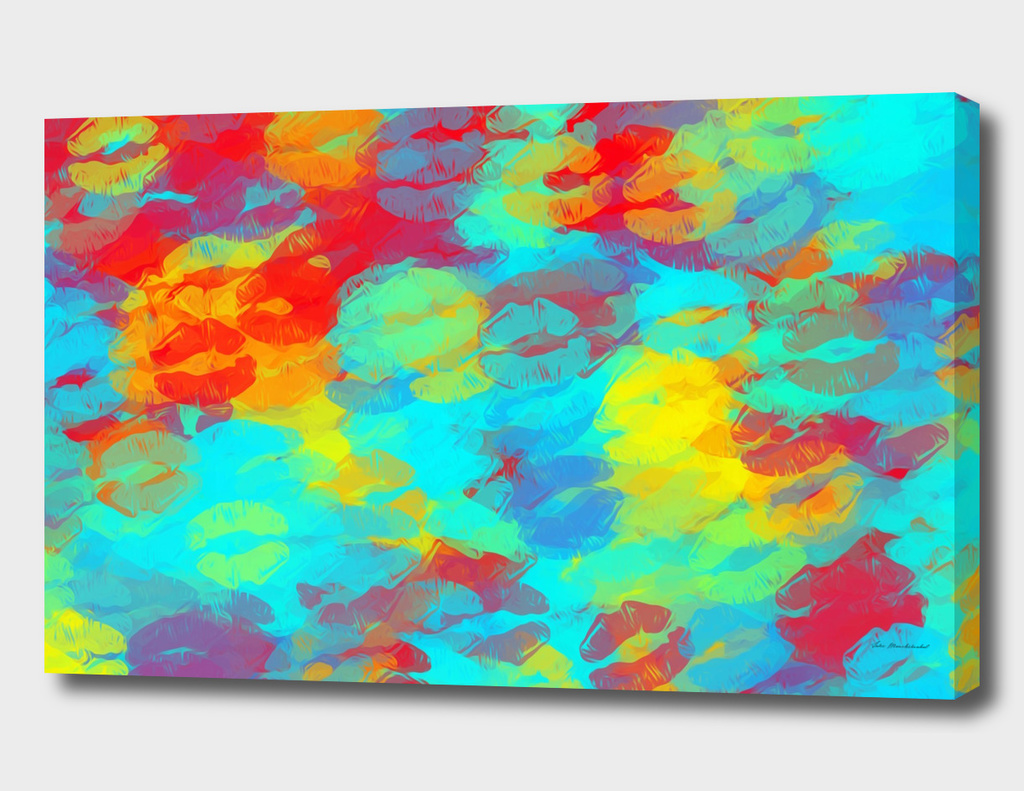 psychedelic kiss lipstick abstract in red blue yellow