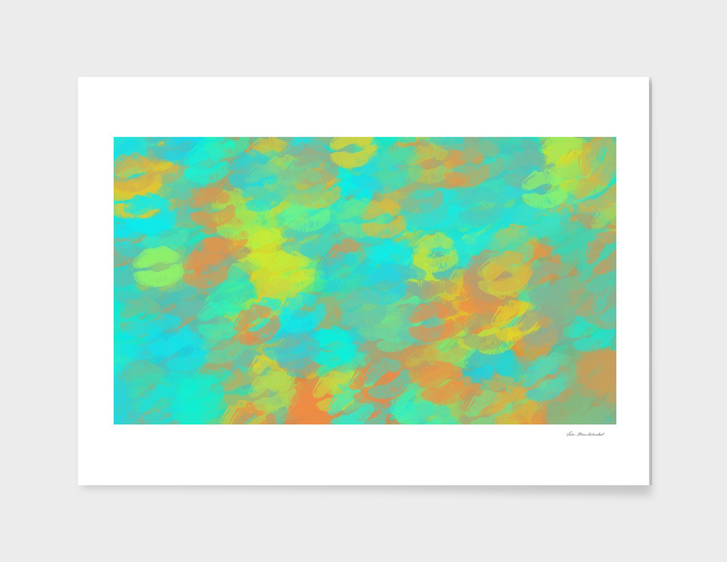 lipstick kiss pattern abstract in orange green yellow
