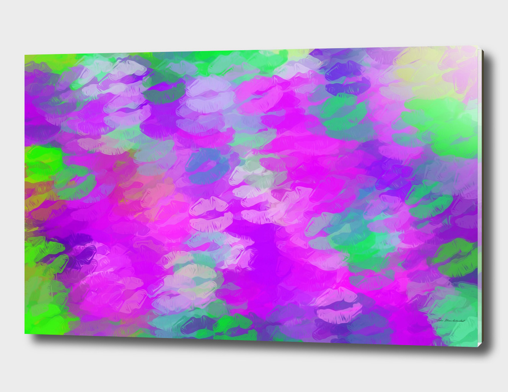 psychedelic kiss lipstick painting in pink purple green