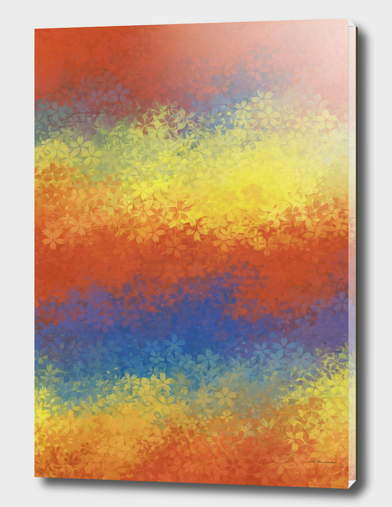 orange blue yellow flowers abstract background