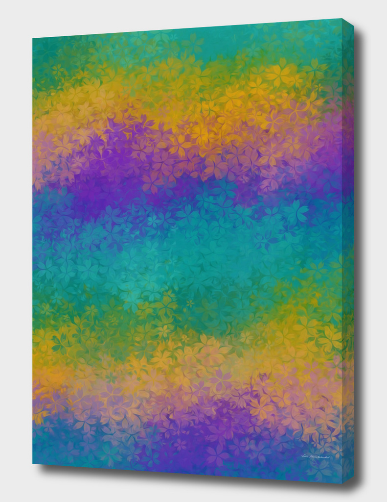 green purple yellow flowers pattern abstract background