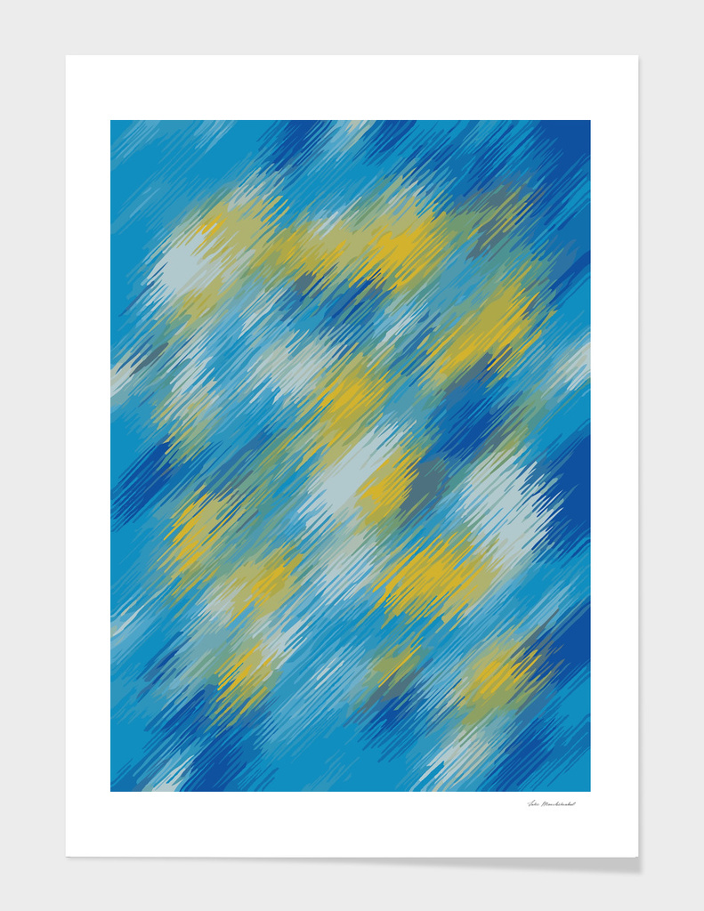 splash painting abstract in blue and yellow