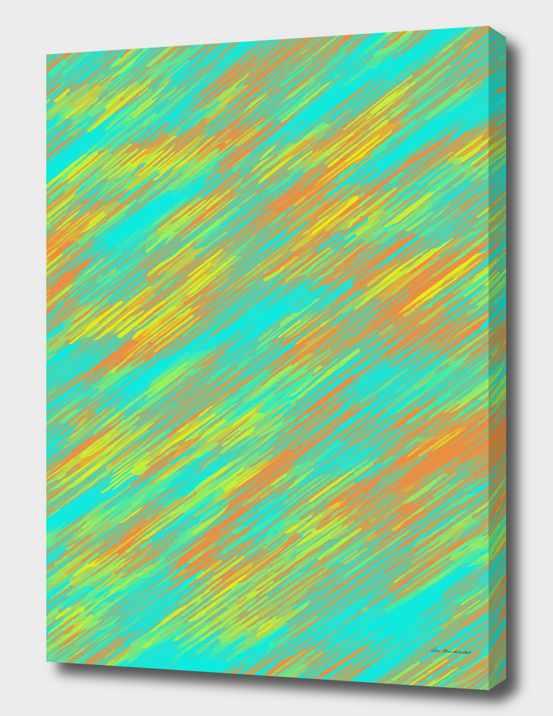 geometric splash painting abstract in green orange yellow