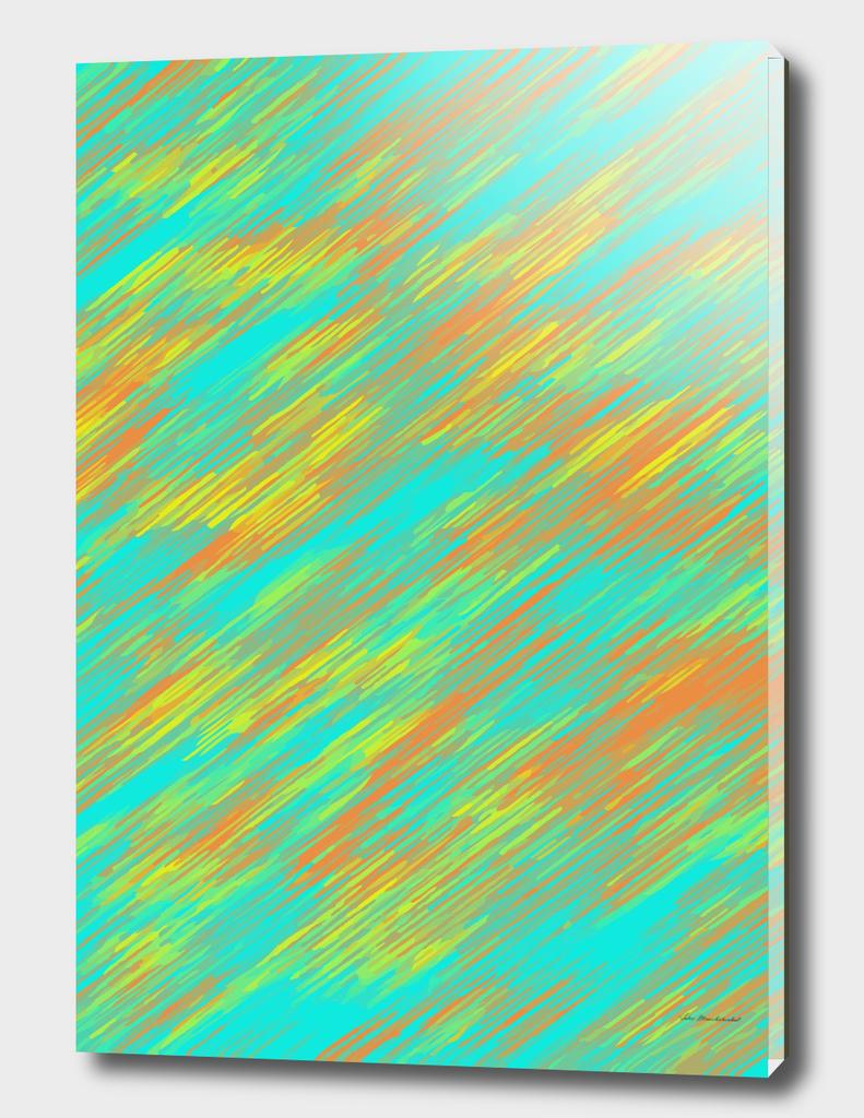 geometric splash painting abstract in green orange yellow
