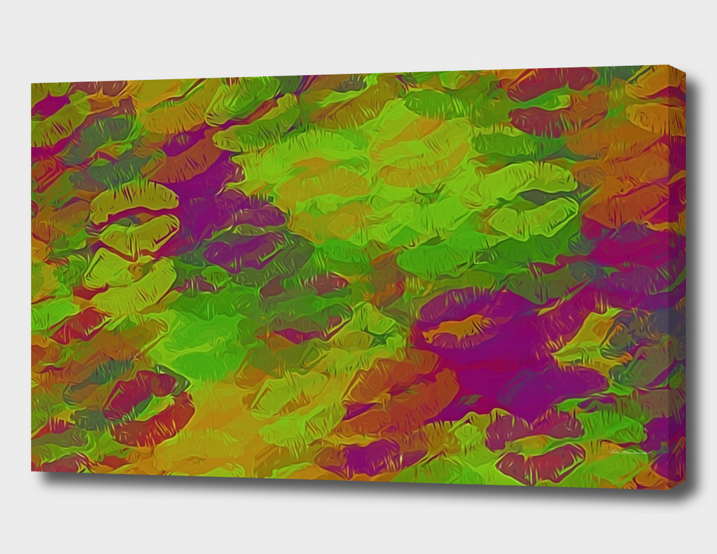 lipstick kiss abstract in purple green pink