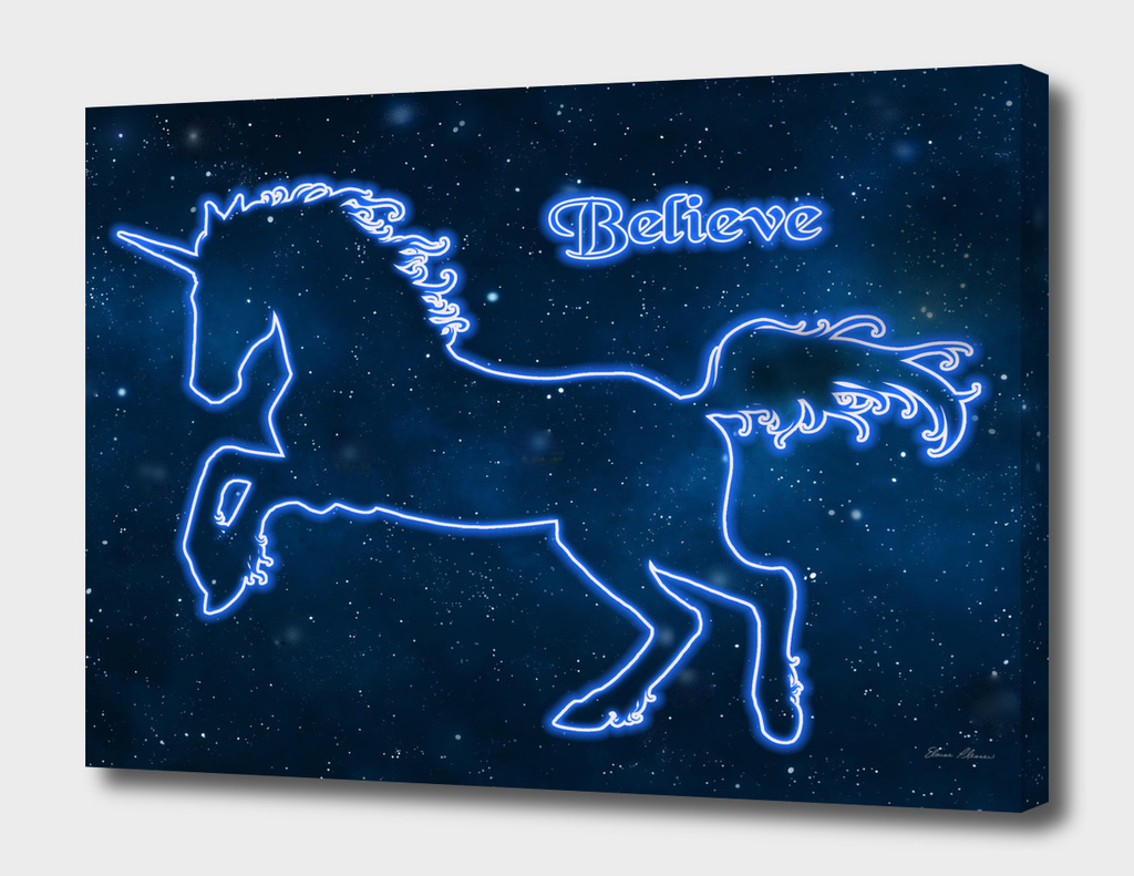 Blue Neon Light Unicorn TEXT BELIEVE