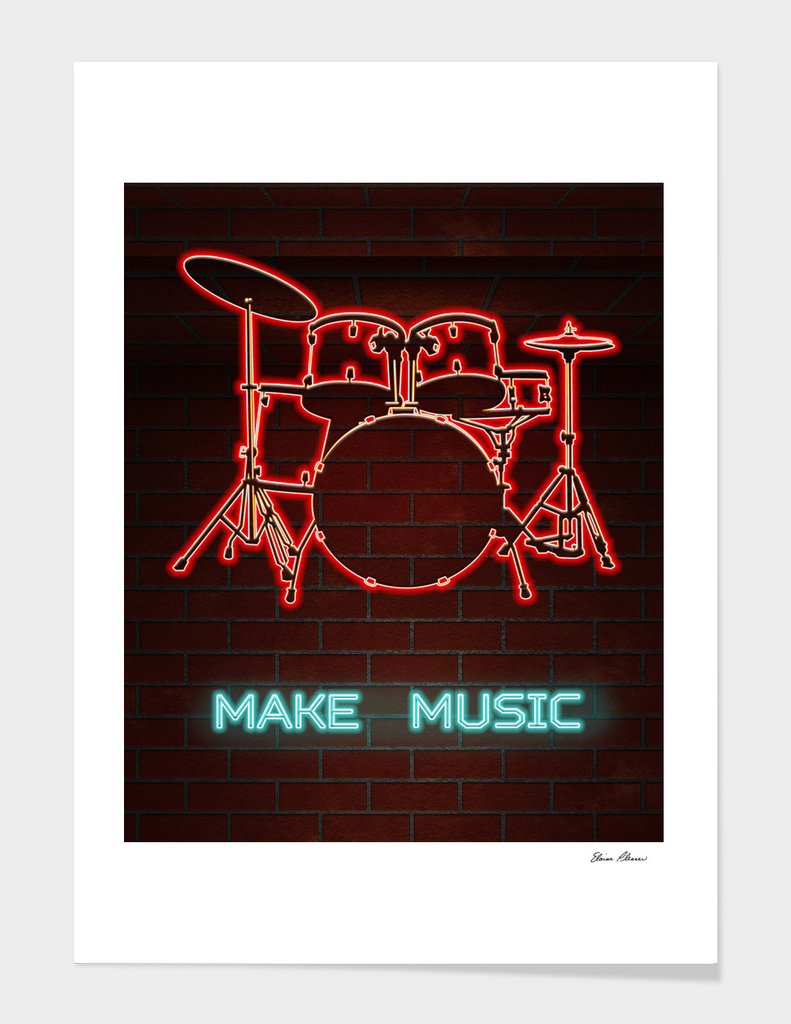 Neon Drum Set TEXT MAKE MUSIC