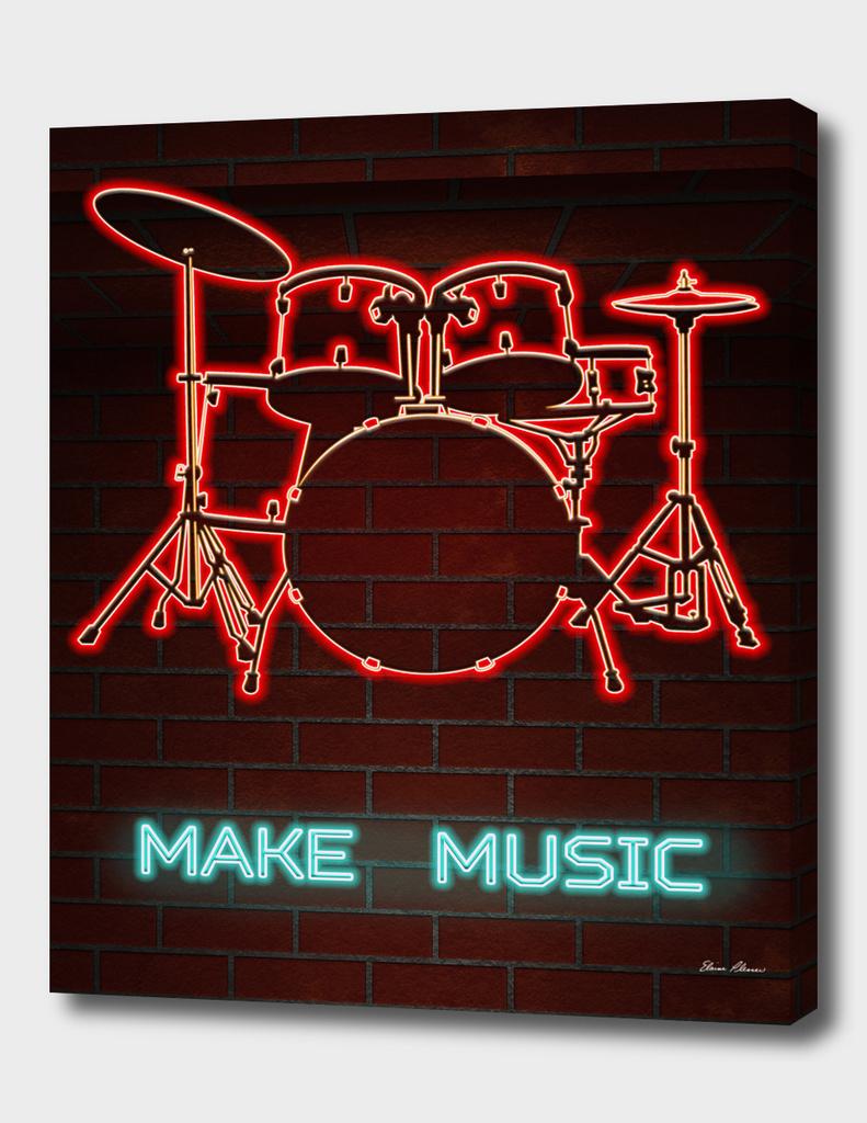 Neon Drum Set TEXT MAKE MUSIC