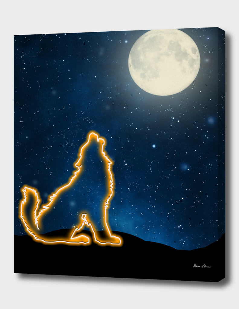 Neon Wolf Howls at the Moon