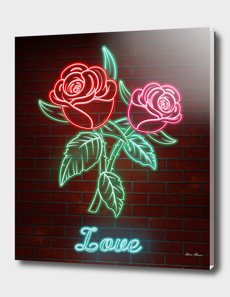 Romantic Roses in Neon Lights TEXT LOVE