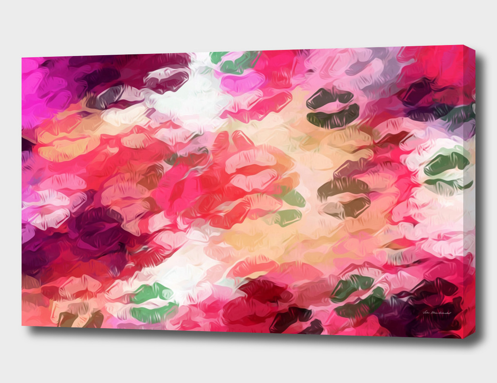 red pink purple kisses lipstick background