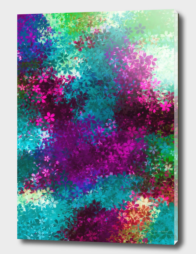 pink green blue red flowers abstract background