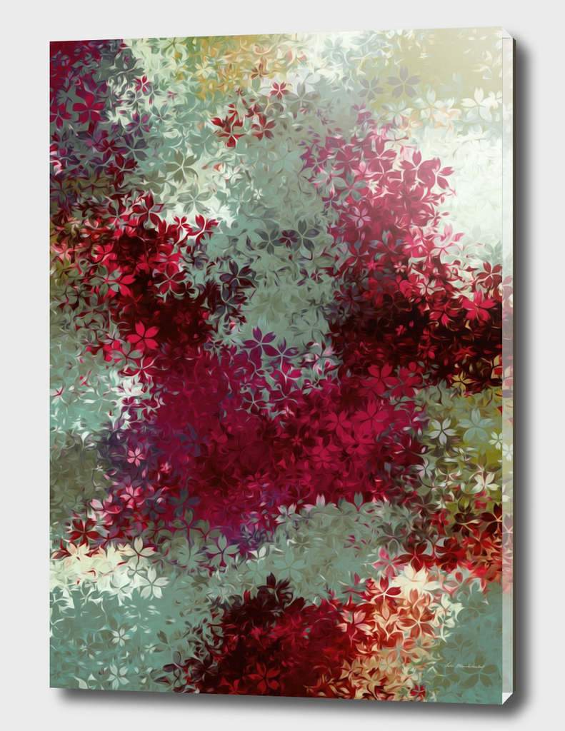 drawing flower pattern abstract in red and green