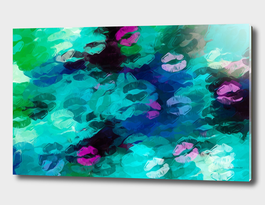 psychedelic kiss lipstick abstract in pink blue green
