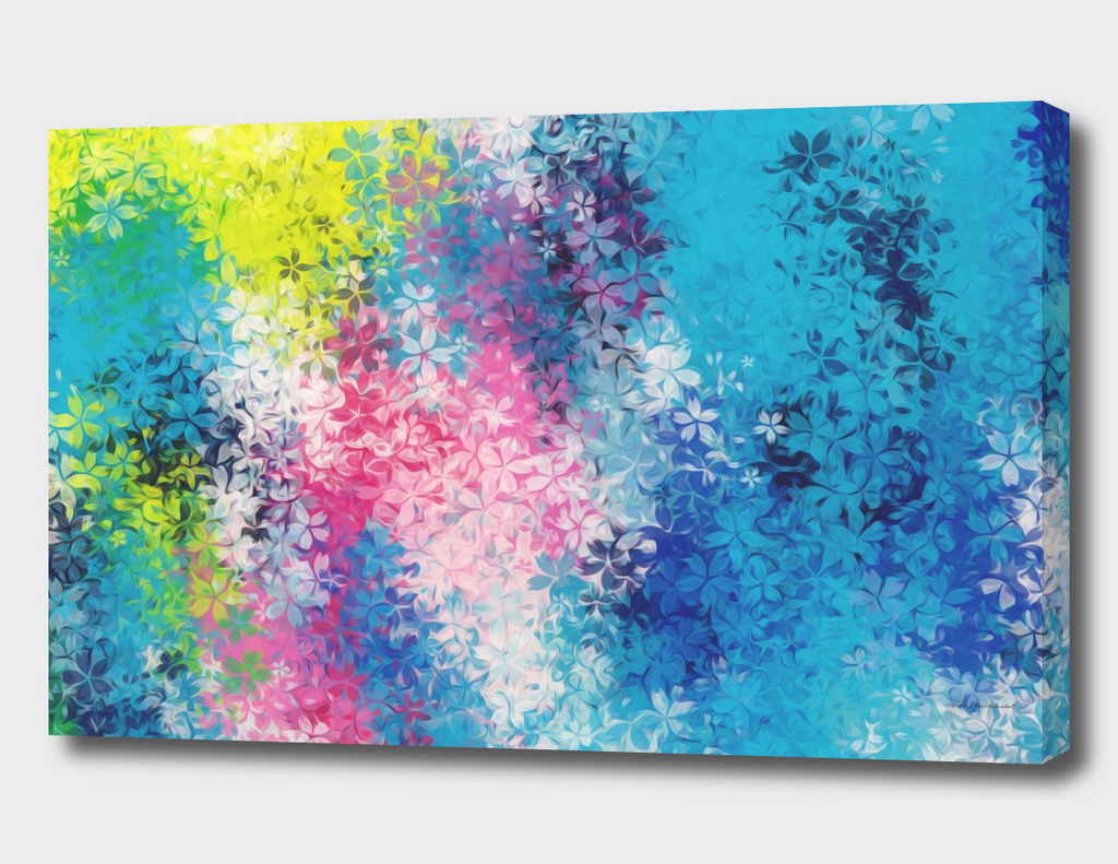 flowers abstract background in blue pink and yellow