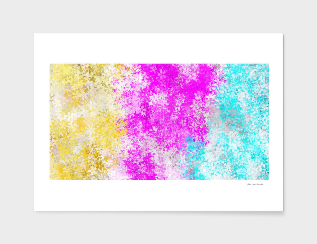 flowers drawing abstract in pink blue and yellow
