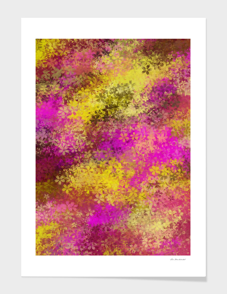 pink and yellow flowers abstract background