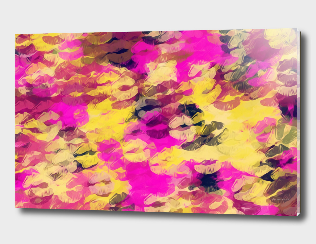 pink yellow and black kisses lipstick background