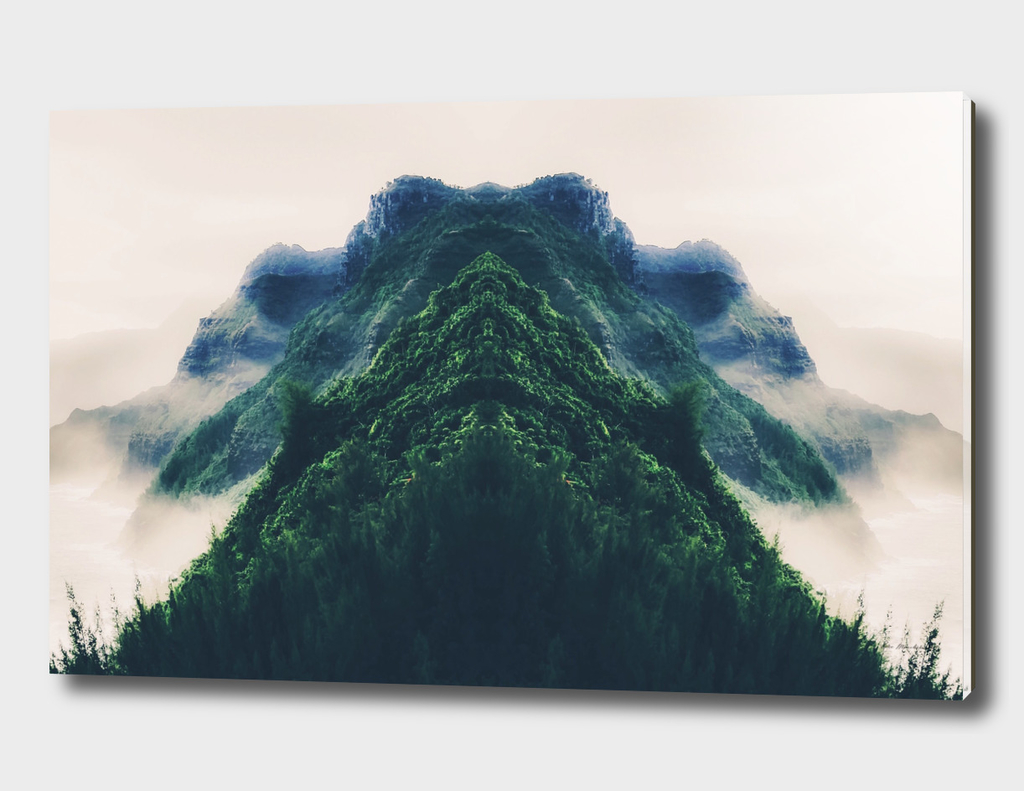 green mountain with fog